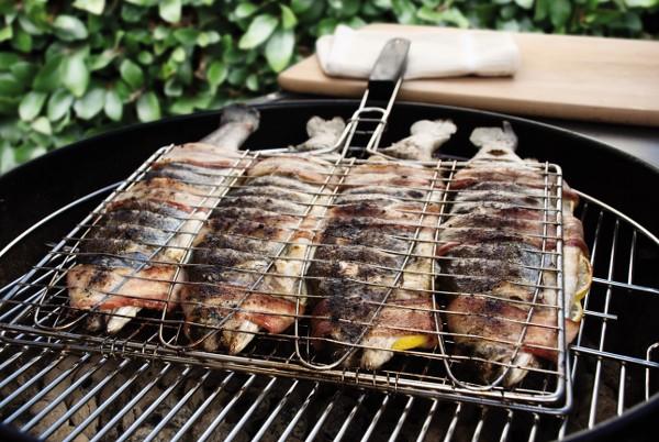 Steven raichlen griglia 4 scomparti per trote e piccoli for Contenitore per pesci